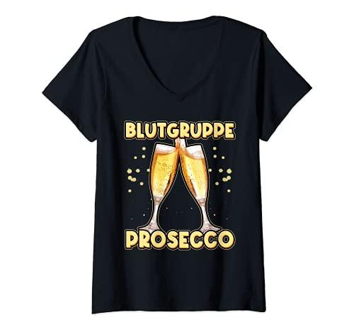 Damen Blutgruppe Prosecco positiv Alkohol Team Sektchen Sekt T-Shirt mit V-Ausschnitt
