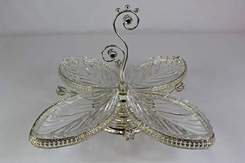 Bador - Ciotola Decorativa per Cabaret, Stile Elegante e Raffinato in Argento, ca. 45 x 45 x 26 cm