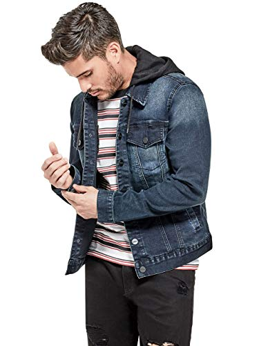 GUESS Factory Men's Vertix Hooded Super Stretch Denim Jacket
