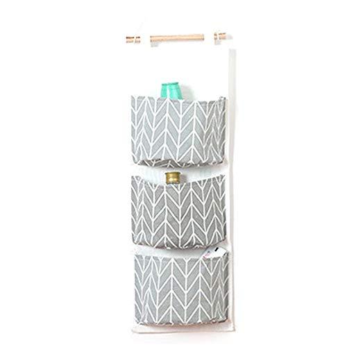 NHUAIYINSHUGUOGUANGGAOJINGY Leinen Baumwolle Stoff hängen Aufbewahrungstasche 3 Taschen wasserdichte Tür Schrank Badezimmer Wand Storage Organizer - grau