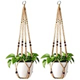 Mkono Macrame Plant Hanger Indoor Hanging Planter Basket with Wood Beads Decorative Flower Pot Holder No Tassels for Indoor Outdoor Boho Home Decor 35 Inch, Brown, Set of 2