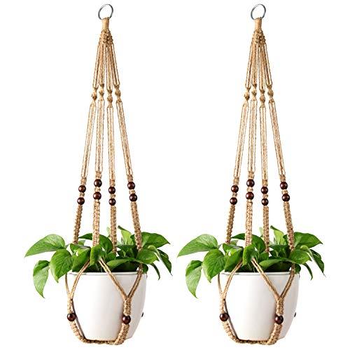 Mkono 2 Pack Macrame Plant Hangers Indoor Hanging Planter Basket Decorative Flower Pot Holder Jute Rope with Beads No Tassels for Indoor Outdoor Home Decor 35 Inch