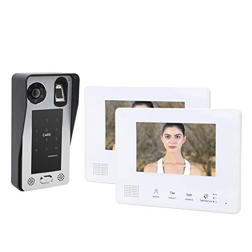Timbre con video de 2 cables Sistema de seguridad para el hogar, Sistema de intercomunicación con timbre de videoportero con pantalla LCD de 2 x 7 pulgadas