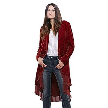 Women Ruffled Asymmetric Long Velvet Blazers Coat Casual Jackets(Wine-L)