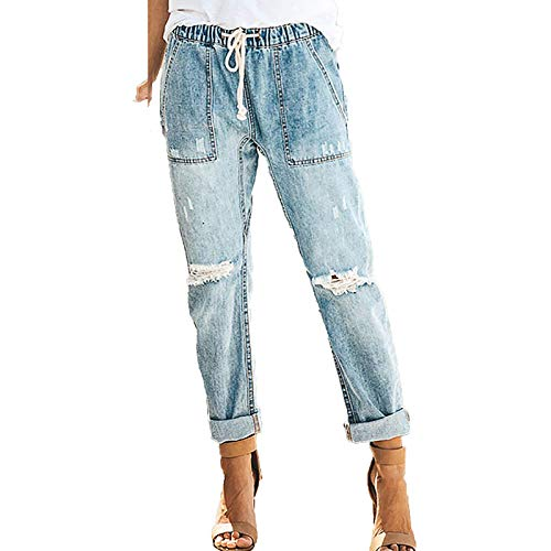 YANFANG Pantalones Vaqueros de Cintura Baja con Agujeros de Color sólido para Mujer, Pantalones Acampanados en el Tobillo, Pantalones de Moda,Blue,XL
