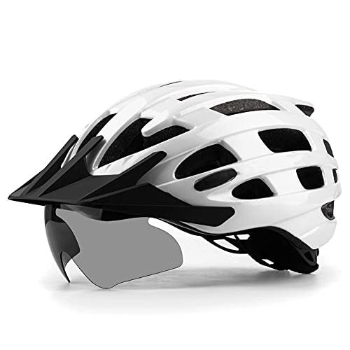 Casco bicicletta MTB adulto taglia regolabile, caschi bici certificati CE con visiera staccabile occhiali magnetici per donna uomo 57-62 cm A