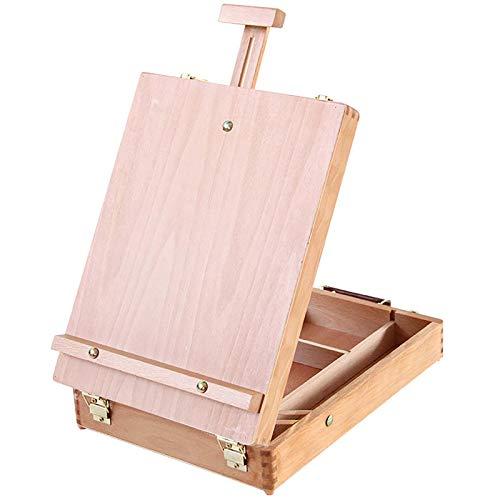 Kit De Viaje Para Pintor Portátil, Caja De Dibujo De Madera Multifuncional, Caballete De Madera Para Pintar Kit De Viaje Portátil, Juego De Pintura Acrílica Para Caballetes De Artista,Wood color