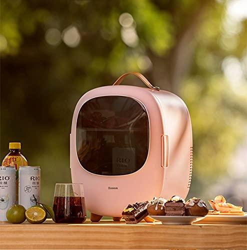 Mini Refrigerador De Coche Nevera para Coche Pequeño De 8L Caja Portátil De Calefacción Y Refrigeración, Refrigerador Cosmético De 8 Latas De 330 Ml para El Hogar, Automóvil, Picnic, Camping,Rosado