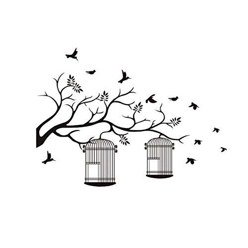 Hot High Quality Branches Bird Cage Background Removable Mural Applique Vinyl Art Room Decoration Bedroom New 42X48Cm
