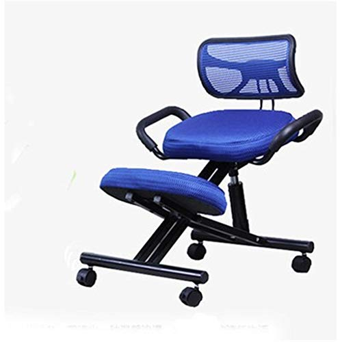Ergonomic Kneeling Chair, Backrest Home Computer Chair Fold Steel Kneeling Chair Correct Sitting Posture Upright Chair Learn Writing Chair Spin Can Be Lifted, Correct Posture (Color : Blue)