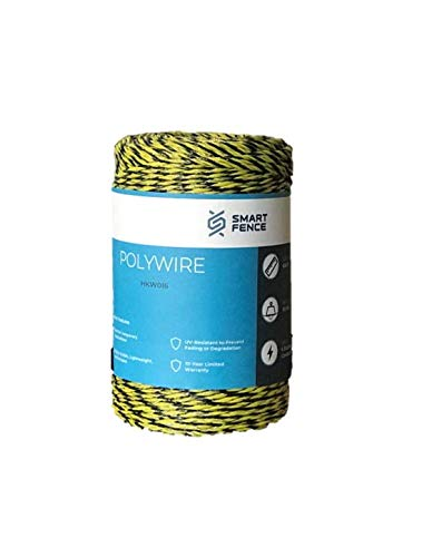 Smart Fence Electric Fence Polywire - 656' Yellow/Black Garden Pasture Animal Fencing