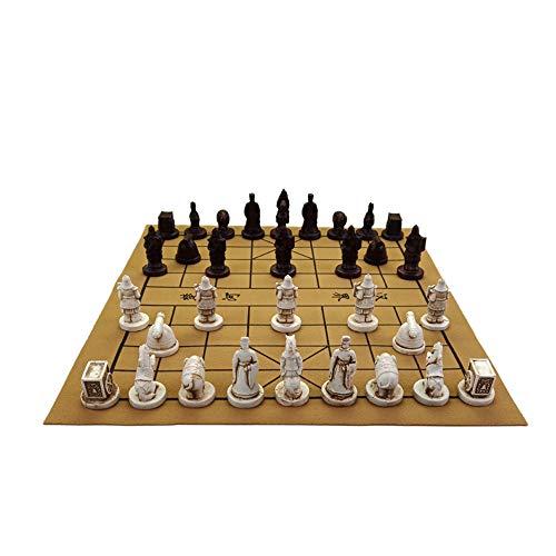 Juego de viaje de ajedrez chino - Diseño de guerreros de terracota en 3D, piezas de ajedrez hechas a mano de resina, tablero de ajedrez suave de cuero - Archaize tradicional - 10.6 * 11.8 pulgadas