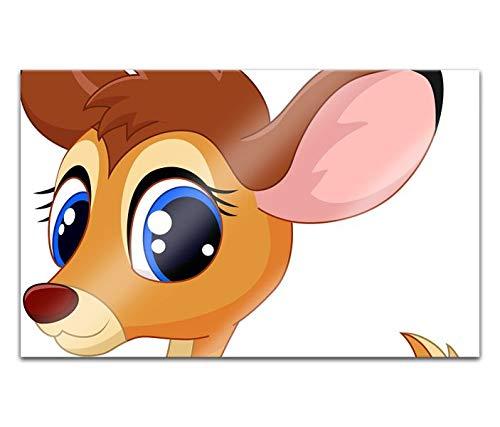 Acrylglasbilder 80x50cm Cartoon Tier Rehkitz Reh süß Acryl Bilder Acrylbild Acrylglas Wand Bild 14H1714