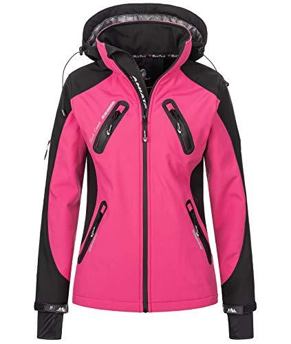 Rock Creek Damen Softshell Jacke Windbreaker Regenjacke Übergangsjacke Softshelljacke Damenjacke Regenmantel Outdoorjacke Kapuze D-441 Pink XXL