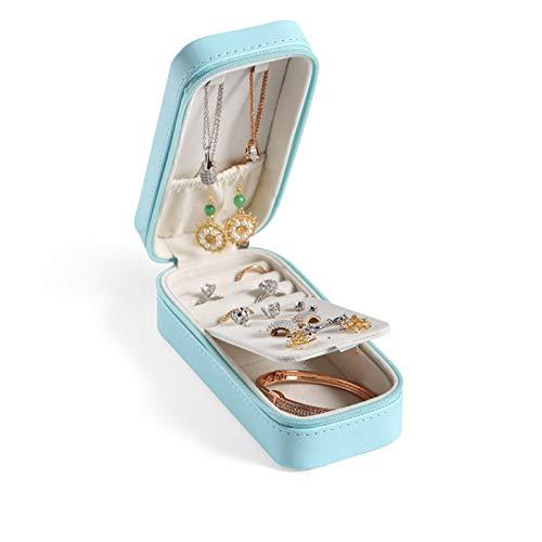 Recet Joyero, joyero de viaje, mini anillo, portátil, caja rectangular de cuero