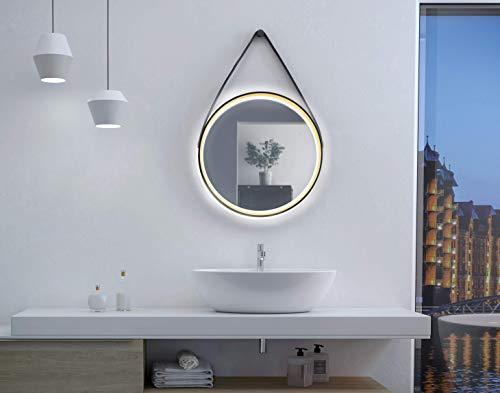 Talos Badspiegel mit Beleuchtung rund beleuchtet mit einem hochwertigen Aluminiumrahmen-Spiegel in schwarz/gold-Lichtfarbe Neutralweiß, Ø 55 cm