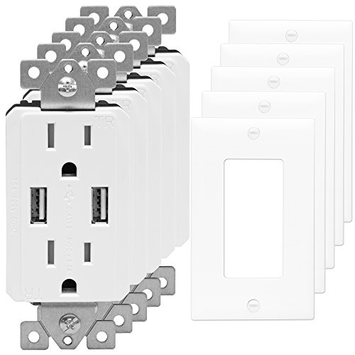 USB Outlet Charger by TOPGREENER TU2152A 2.1 AMP Dual USB Charger Outlet 15A Tamper Resistant Receptacle, 5 Pack with Wall Plates, White
