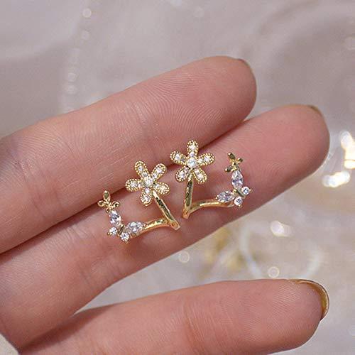 LuckyOne Ins Hot Aale - Pendientes de oro real de 14 quilates con diseño de flor con mariposa,...