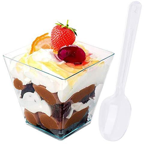 Gxhong 50 Pezzi Tazze da Dessert, 5.5 OZ/160ML Tazze da Dessert in plastica con 50 cucchiai da minestra, Tazza da Dessert in plastica Riutilizzabile per Dessert con Mousse budino