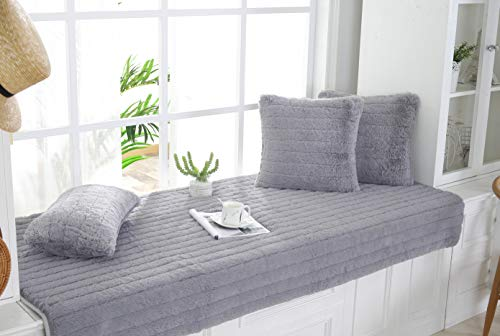Sincere Custom Size Plush Thickened Bay Window Seat Cushions/Pads/Mat Indoor Custom Size Non-Slip Window Sill Rugs Carpet Window Bench/Tatami Cushion Pad (Gray, Custom Size)