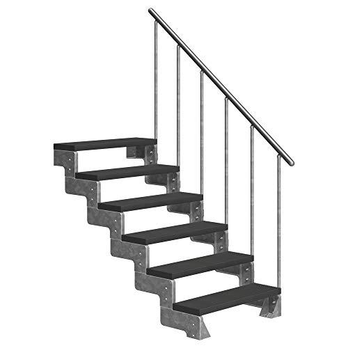 DOLLE Außentreppe Gardentop mit 6 Stufen   Geschosshöhe 108-132 cm │ Trimax® Stufenauflage Anthrazit │ 100 cm   mit Einzelstabgeländer