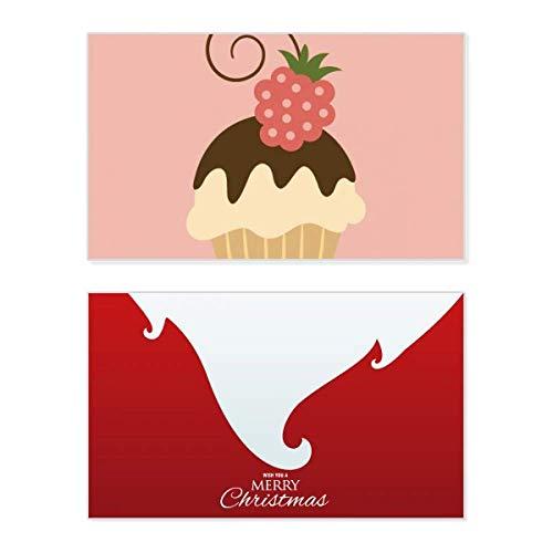 Weihnachtskarte mit Erdbeer-Motiv, Schokolade, Süßes Eis