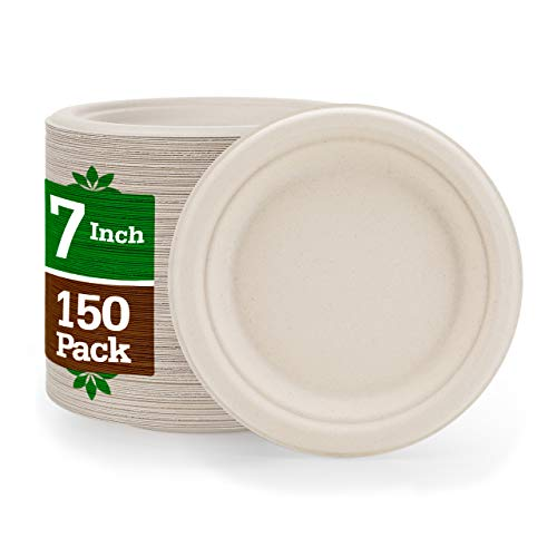 """7"""" Paper Plates [150-Pack] Brown Compostable Disposable Biodegradable Premium Natural Eco-Friendly Bagasse, Made of Sugar Cane Fibers Heavy-Duty Quality, Nexhex"""