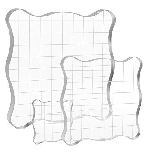 Bluelves Stempelblock Set, 3 Stück Acrylblock Set Acryl Klar Stempelbausteine mit Gitter für Scrapbook Fotoalbum Handwerk Crafts Making, Transparent, Clear Stamp, Stempel für Acrylblock