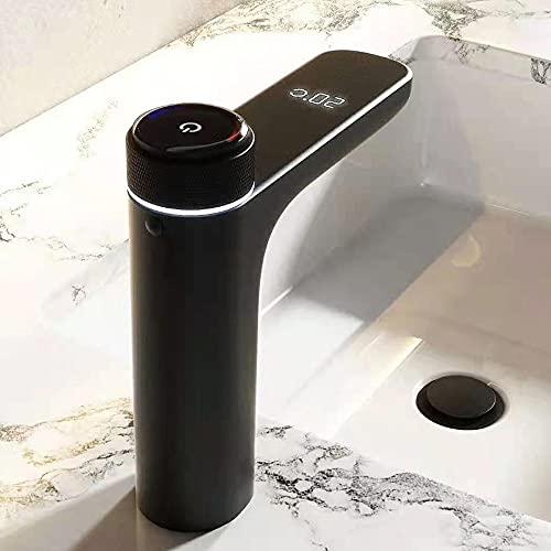 ALYHYB Grifo de baño negro inteligente con pantalla digital de temperatura LED con interruptor de botón de espejo de latón macizo grifo mezclador para agua fría y caliente, (color: negro)
