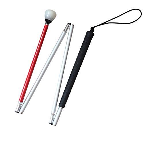 VISIONU Aluminio Baston Blanco para Ciegos y Baja Vision Plegable, 4 Secciones, 123cm (48.4 Pulgada)
