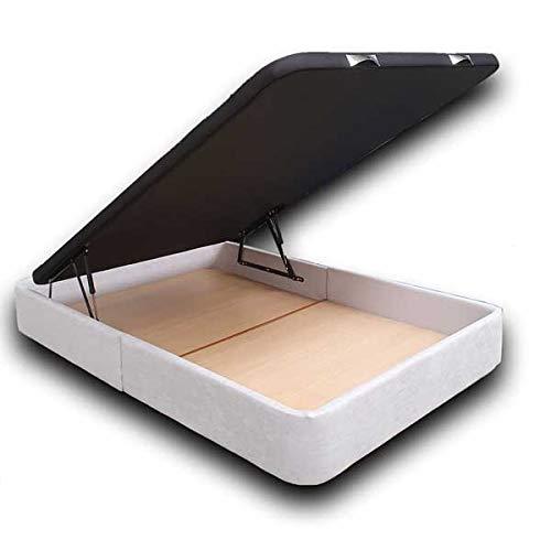 Ventadecolchones - Canapé Abatible Serena Gran Capacidad Tapizado en Tela Antimanchas Essence Gris Perla Medidas 150 x 200 cm en Tejido 3D