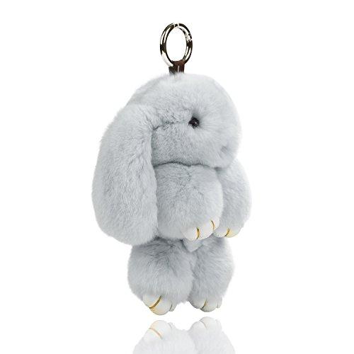 """USATDD Easter Bunny Doll Keychain Soft Cute Rex Rabbit Fur Pom Pom Fluffy Plush Pendant Key chain Car Handbag Keyring Womens Gril Charms 7"""" (Grey)"""