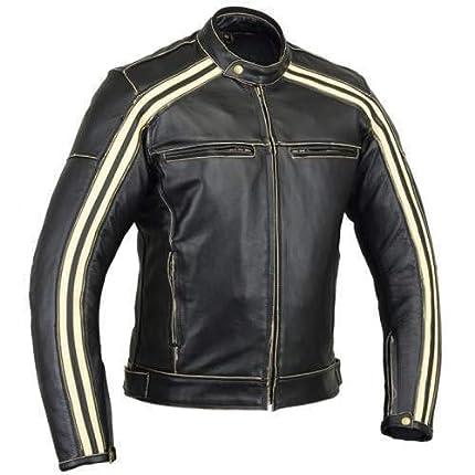 Australian Bikers Gear Retro Style 'The Bonnie' - Chaqueta de moto, Negro / Blanco, L