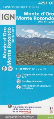 IGN 4251 OT Monte d'Oro, Monterotondo, PNR de Corse (Korsika, Frankreich) 1:25.000 topographische Wanderkarte IGN