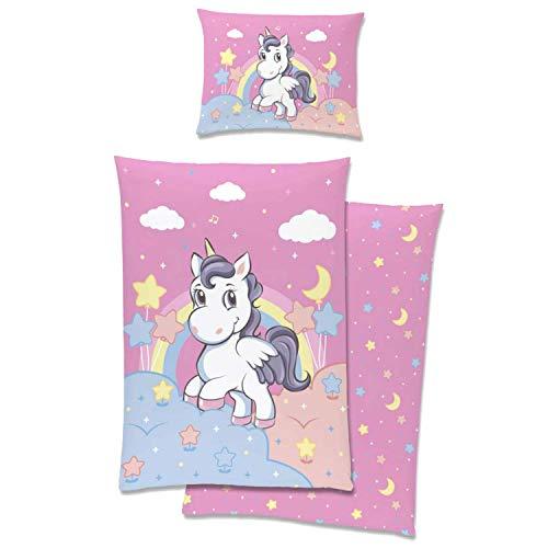 Aminata Kids Kinderbettwäsche Einhorn-Motiv 100-x-135 Mädchen rosa Baumwolle mit Reißverschluss - Kinder-Bettwäsche-Set Unicorn-Motiv, Sterne & Regenbogen pink