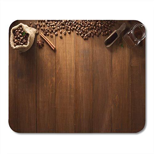 Mauspad brown bean tasse kaffee und zutaten auf holzmousepad für notebooks, Desktop-computer mausmatten