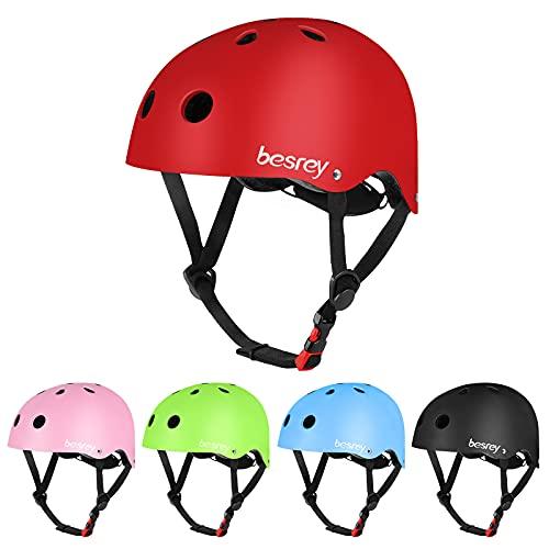 Casque de vélo garçon et Fille Casque de Planche à roulettes, Patins à roulettes de Scooter Casque de vélo léger et sûr pour Enfants de 3 à 12 Ans ,Multi-Sport, Rouge