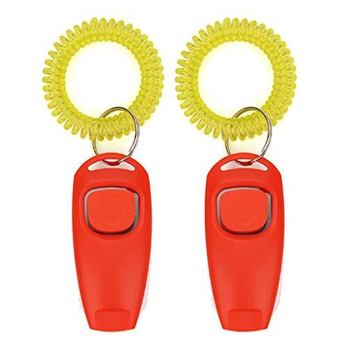 axuanyasi 2in1 Hond Clickers Voor Training En Hond Fluitjes dogclicker clicker hond training, Rood