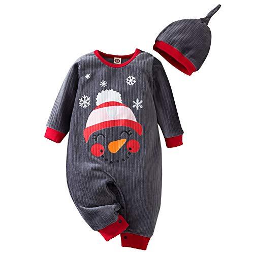Conjunto de pijama de manga larga unisex para recién nacido, con diseño de reno, de Papá Noel, con sombrero, conjunto de pijama de una pieza para niños pequeños