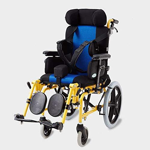 CHAIR Ligero Plegable Niños 'S Conducción en silla de ruedas Médica, Parálisis cerebral Niños' S Silla de ruedas Coche Multifuncional Niños discapacitados Totalmente acostado Reclinable Plano