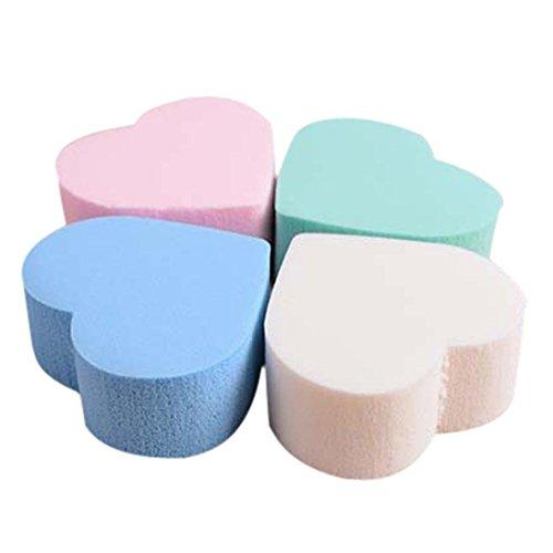 Fengge 4pcs Forme de coeur éponge maquillage liquidificateur fond d'éponge - Couleur mixte