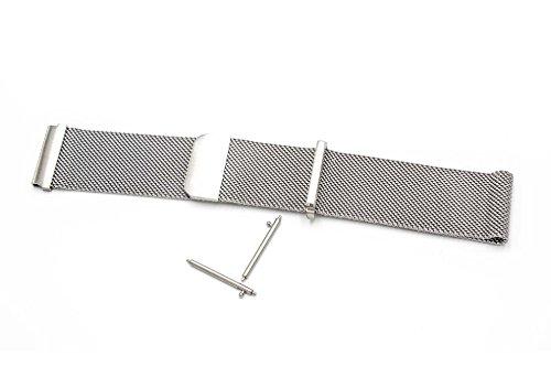 vhbw Ersatz Armband passend für Pebble 2 Watch, Time, Time Steel, Watch Fitness Uhr, Smart Watch - 26cm Edelstahl Silber Magnetverschluss