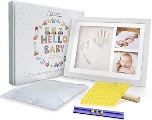 KEROOS® Gipsabdruck Baby Hand und Fuß Set inkl. Buchstaben Schablonen Set | hochwertiger Bilderrahmen aus Holz | sicheres Plexiglas | geeignet auch für Tiere