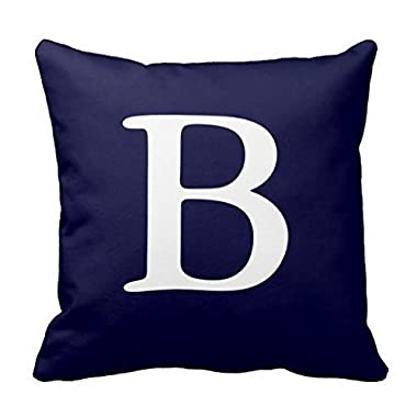 Navy Blue White Monogrammed B Throw Pillow Case