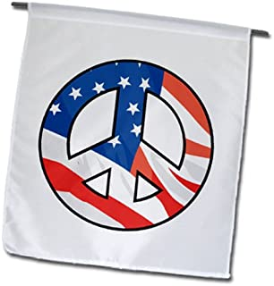 3dRose fl_150046_1 American Flag Peace Sign Usa Patriotic America Design Garden Flag, 12 by 18-Inch