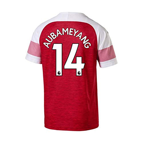Arsenal FC - Jungen Heim-Ausweichtrikot - Offizielles Merchandise - Geschenk für Fußballfans - Rot Aubameyang 14-11-12 Jahre