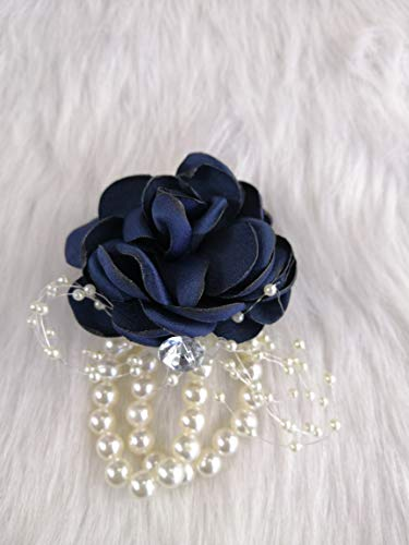 Abbie Home Decent Wrist Corsage for Prom Party Wedding Ball Event Silk Rose Rhinestone Hand Flower Classic Pearl Bracelet (Navy Blue)