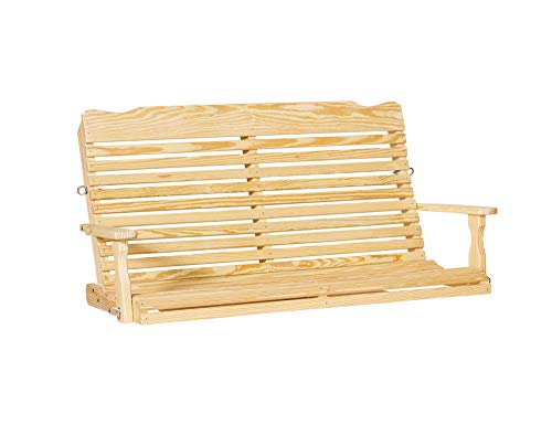 Peaceful Classics Hanging Porch Swing Amish Furniture | Wooden Curved Back Outdoor Bench Swings Unfinished Wood 5 Foot