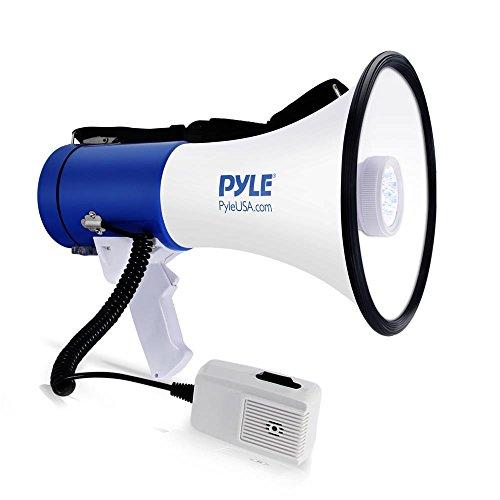 Pyle - Megafono portatile compatto PA con torcia LED, sirena, volume regolabile, 50 W, microfono staccabile, alimentato a batteria, per interni ed esterni (PMP51LT)