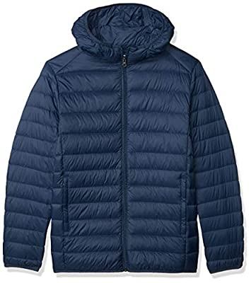 Amazon Essentials Men's Lightweight Water-Resistant Packable Hooded Down Jacket, Navy, Large by Amazon Essentials